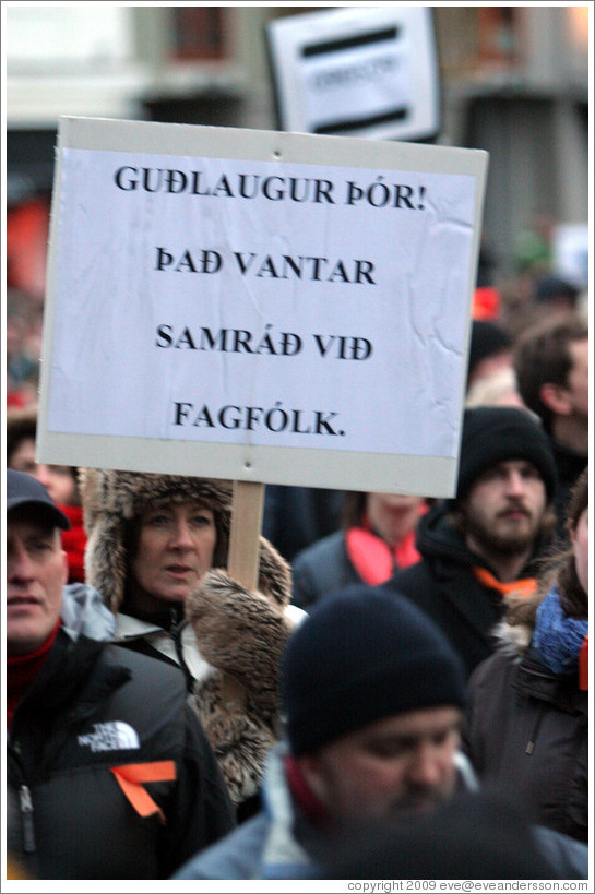 "Reykjavik protest.  The sign says ""Gu?gur ?r!  ??ntar samr?vi?gf? (""Gu?gur ?r [?r?on, Minister of Health]! Consultation of professionals is needed"")."