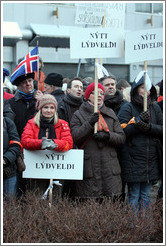 "Reykjavik protest.  The signs say ""N?tt l??di"" (""New republic"")."