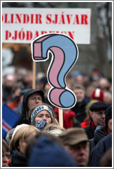 Reykjavik protest.  Question mark sign.