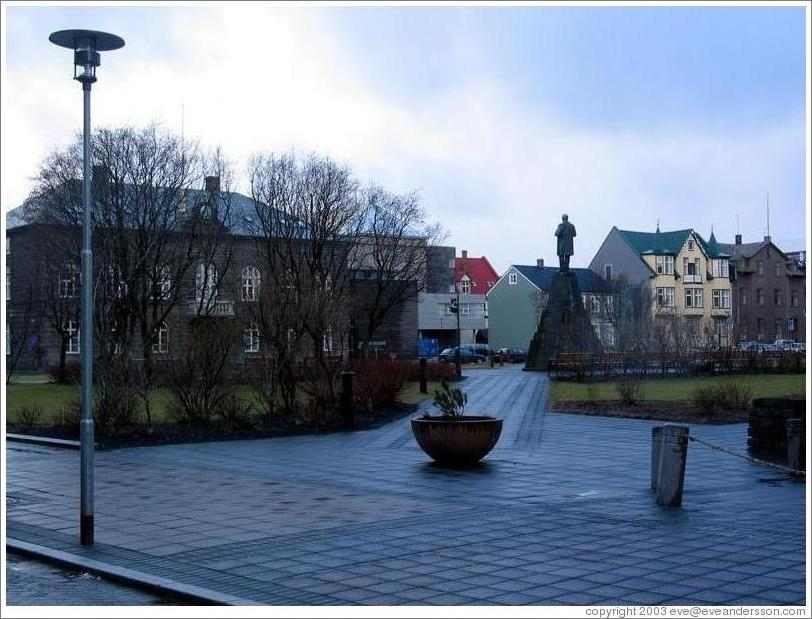 Austurvöllur, a square in old town Reykjavik surrounded by the Parliament Building, the city's oldest church Domkirkja, the Hotel Borg, and the dance club NASA