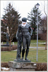 Statue wearing cloth for protection against pepper spray.  Icelandic police fired pepper spray at protesters in January 2009.