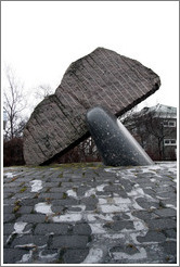 Whale tail sculpture given to Iceland by Latvia.