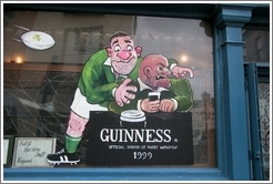 """Guinness Official Sponsor of Rugby World Cup"" -- on a pub in Temple Bar, Dublin."