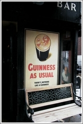"""Guinness As Usual"" -- on a pub in Dublin."