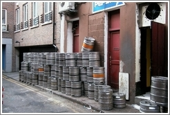 Empty Guinness barrels -- a common sight in the alleys of Dublin.
