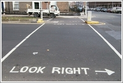 "Very useful signs painted on the street in Dublin (""Look Right,"" ""Look Left"")."