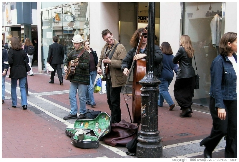 Musicians on the pedestrian-only Grafton Street.