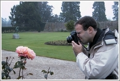 Philip Greenspun photographing a rose.