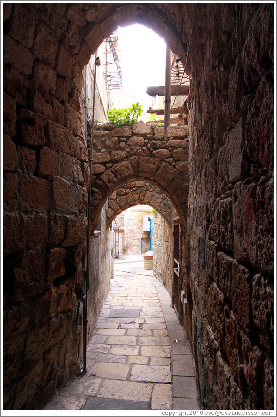Street with arches, old town Akko.