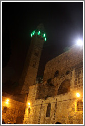 Church of the Holy Sepulchre and mosque with green neon lights, Christian Quarter, Old City of Jerusalem.