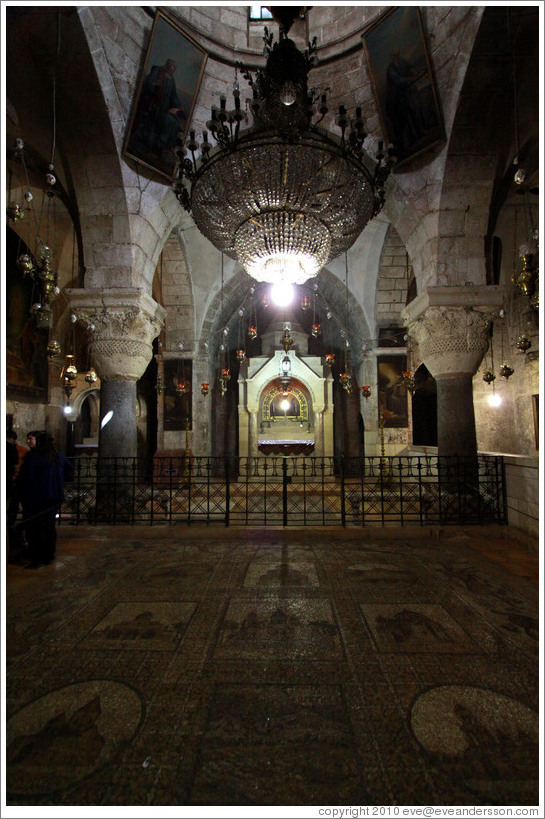 Armenian section of the Church of the Holy Sepulchre, with a mosaic floor.  Christian Quarter, Old City of Jerusalem.