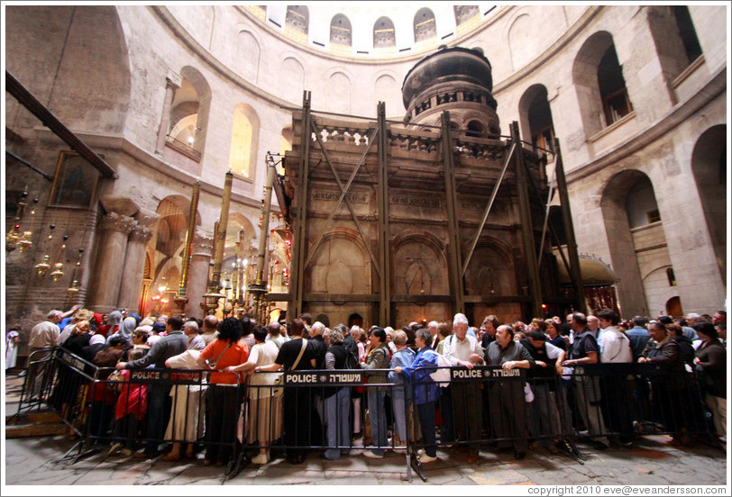 Outside of Christ's tomb, with crowd waiting to enter.   Church of the Holy Sepulchre, Christian Quarter, Old City of Jerusalem.