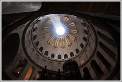 Dome above Christ's tomb, letting through rays of sunlight.  Church of the Holy Sepulchre, Christian Quarter, Old City of Jerusalem.