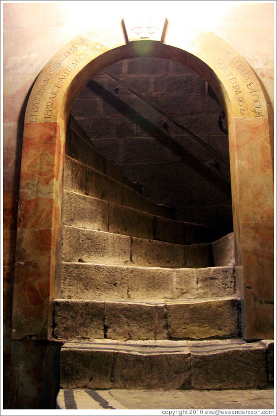 Stairway leading to the Greek Orthodox section, Church of the Holy Sepulchre, Christian Quarter, Old City of Jerusalem.