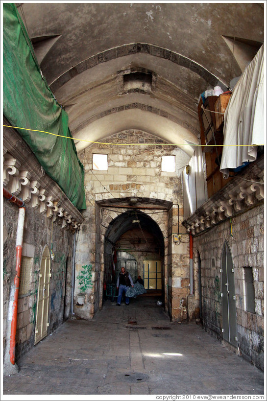 Street at or near boundary of Jewish and Muslim Quarters, Old City of Jerusalem.