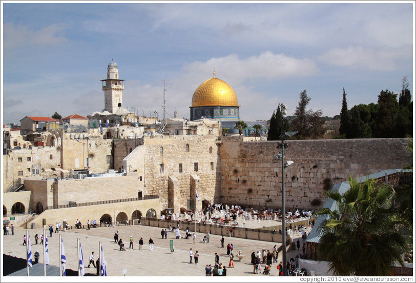 Western (Wailing) Wall and Dome of the Rock, Old City of Jerusalem.