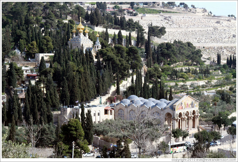 Church of All Nations and Church of St. Mary Magdalene, Mount of Olives.  Viewed from the Yeusefiya cemetery, Jerusalem.