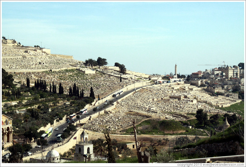 Jerusalem Cemetery, Mount of Olives, viewed from the Yeusefiya cemetery, Jerusalem.
