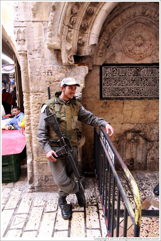 Guard, Al-Wad Street, Muslim Quarter, Old City of Jerusalem.