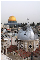 View of two domes - one a mosque, the other a church - from the Austrian Hospice of the Holy Family, Old City of Jerusalem.