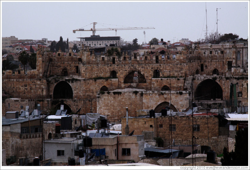 View of the Old City of Jerusalem, including the city wall, from the Austrian Hospice of the Holy Family.