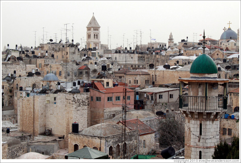 View of the Old City of Jerusalem from the Austrian Hospice of the Holy Family.