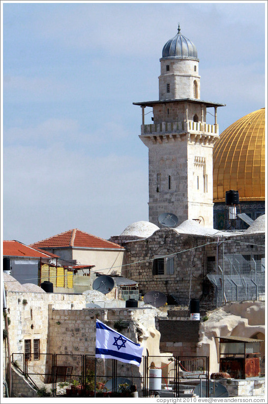 Tower in Haram esh-Sharif (Temple Mount), viewed from the Western (Wailing) Wall, Old City of Jerusalem.