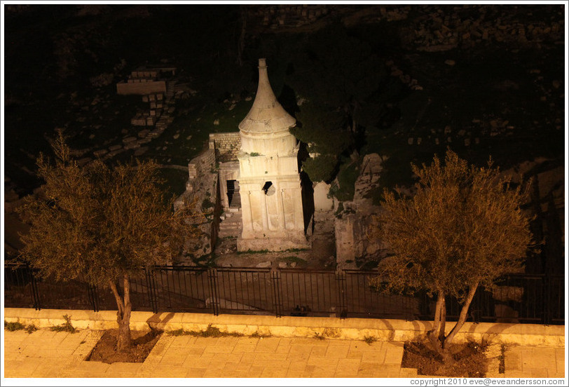 Tomb of Absalom, Kidron Valley, at night.