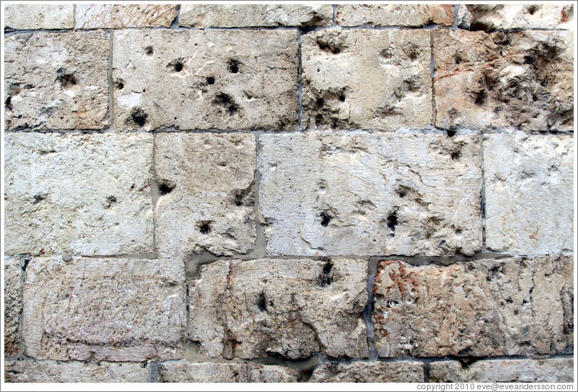 Bullet holes, Zion Gate, wall of the Old City of Jerusalem.
