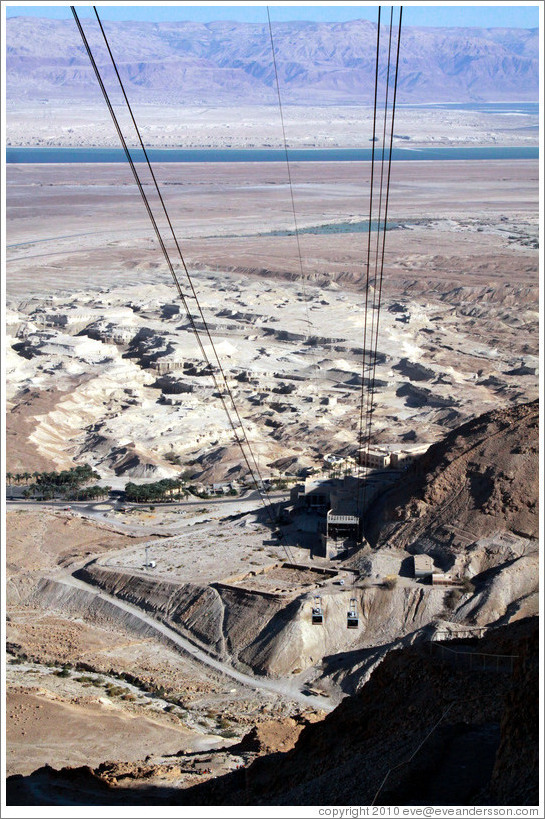 Cable car, desert fortress of Masada.