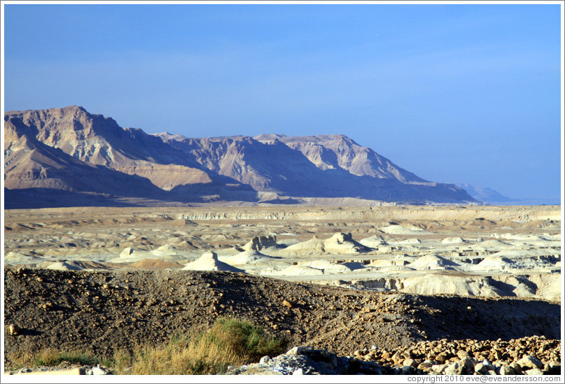 View of the desert and mountains, desert fortress of Masada.