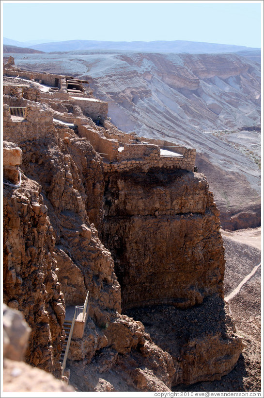 Hanging Palace of Herod, lower terrace, desert fortress of Masada.