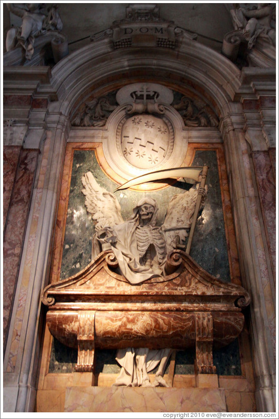 Skeleton with scythe.  Basilica di San Pietro in Vincoli (Saint Peter in Chains).