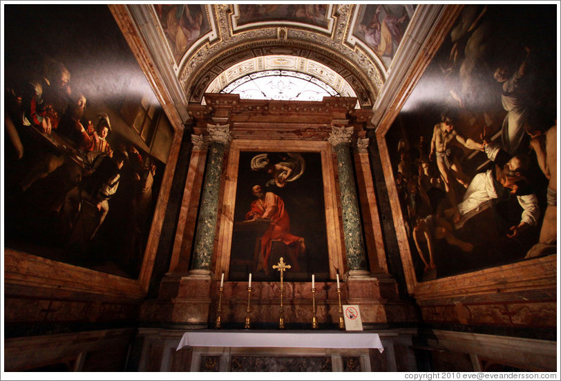 Contarelli Chapel, containing three paintings by Caravaggio: The Calling of St Matthew, The Inspiration of Saint Matthew, and The Martyrdom of Saint Matthew.  San Luigi dei Francesi (Church of St. Louis of the French).