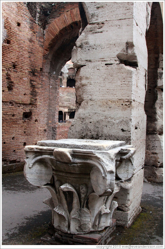 The top of an Ionic column.  The Colosseum.