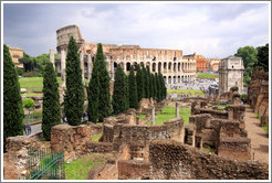 The Colosseum, behind ruins of the Roman Forum.