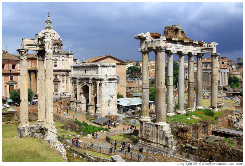 Arco di Settimio Severo (Arch of Septimius Severus) and Tempio di Saturno (Temple of Saturn), Roman Forum.