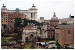 Arco di Settimio Severo (Arch of Septimius Severus), Roman Forum, and surrounding buildings.
