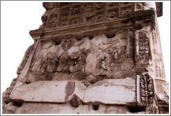 Detail showing items taken from the Temple in Jerusalem, Arco di Tito (Arch of Titus), Roman Forum.
