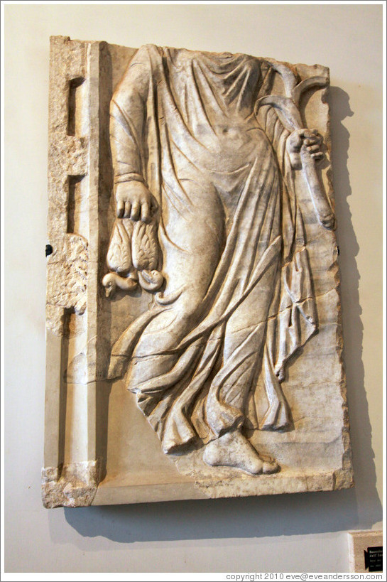 Bas-relief of the personification of winter.  Museo Palatino (Palatine Museum).