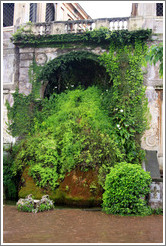 Fishpond, with moss-covered fountain, Palatine Hill.