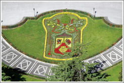 Coat of arms, garden, Vatican City.  Viewed from St. Peter's Basilica.