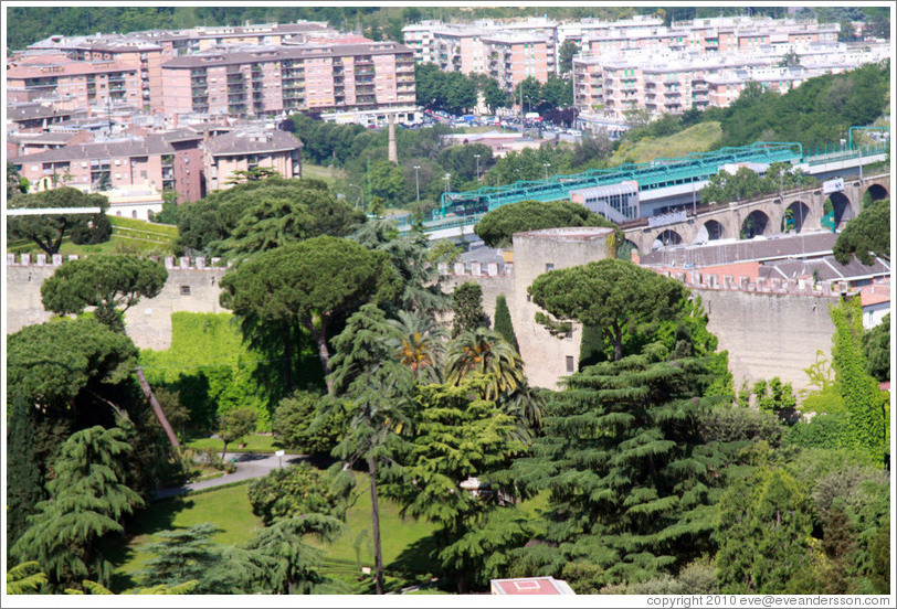 Gardens and city wall, viewed from St. Peter's Basilica.