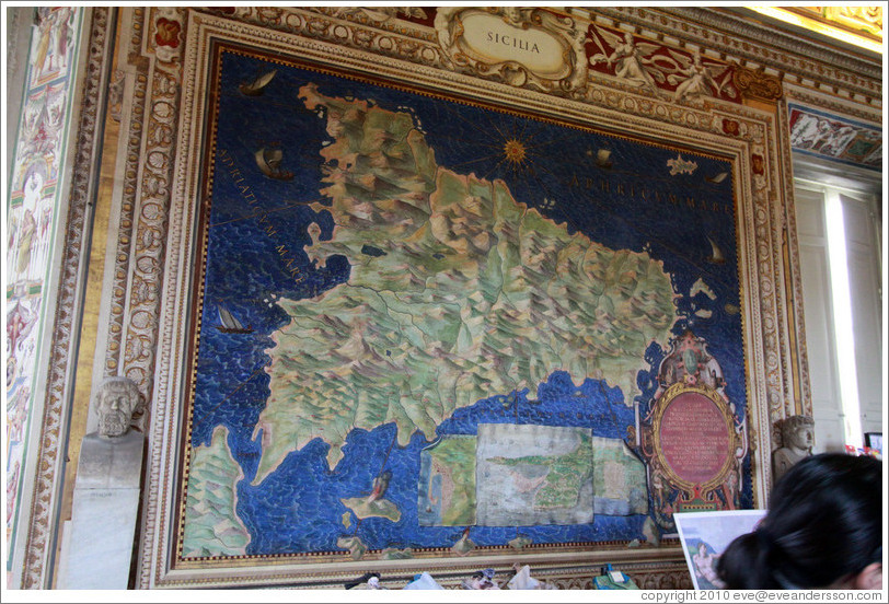Upside down map of Sicily (drawn from Rome's point of view), Gallery of Maps, Vatican Museums.