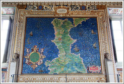 Upside down map of southern Italy (drawn from Rome's point of view), Gallery of Maps, Vatican Museums.