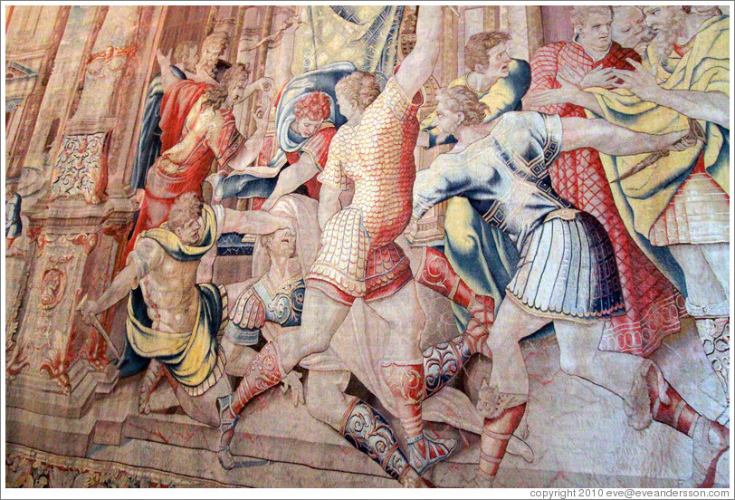 Julius Caesar's assassination, tapestry detail, Tapestry Gallery, Vatican Museums.