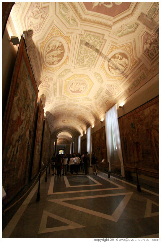 Tapestry Gallery, Vatican Museums.  The ceiling has been painted as to appear three dimensional.