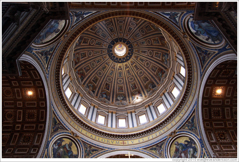 Ceiling, St. Peter's Basilica.  The lettering is 2 meters (6.6 feet) high.