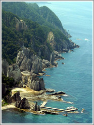 West coast of Shimokita peninsula.  Supposedly these cliffs look like buddhas.