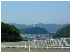 Entering the town of Kamaishi.  The Kamaishi Daikannon is visible.